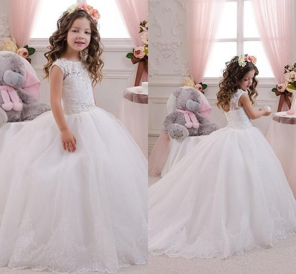 2019 factory price new release quality first Lace Flower Girl Dresses 2018 White Ball Gown Plus Size First Communion For  Girls Pageant Dresses Kids Bridesmaid Dresses Lace Flower Girl Dress From  ...