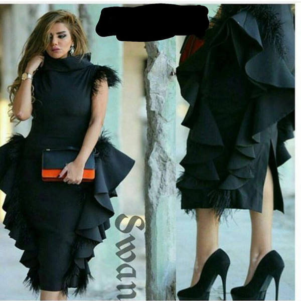 2017 Black Ruffle Design Evening Dresses High Neck Capped Sleeves with Feather On the Shoulder Peplum Tea Length Prom Gowns