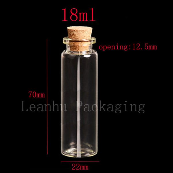 18ml X50 glass bottle with wood cork,3/5 oz clear empty crimp neck glass containers 18cc decorative craft corked stopper vials