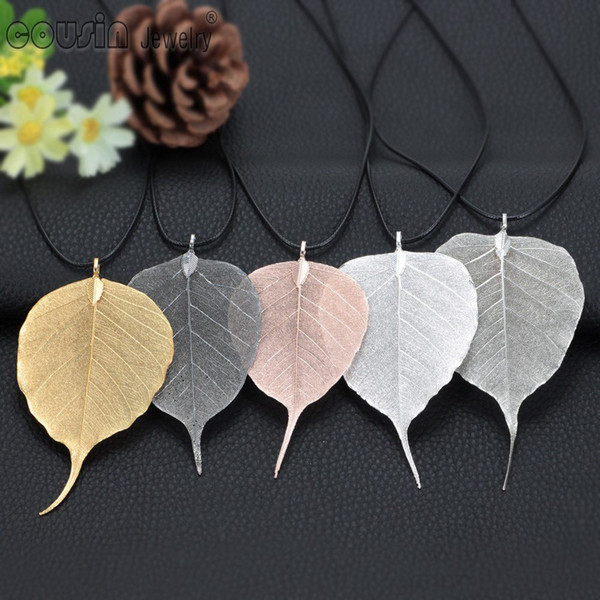 New Arrival 5pcs/lot multi styles Plated Natural Bodhi Leaves pendant necklace for Woman Dress Fashion Design jewelry DZ0223