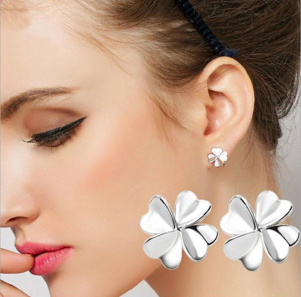 925 Sterling Silver Simple 4 Leaf Clovers Love Heart Flower Small Stud Earrings For Woman Young Ladies Girls Jewelry