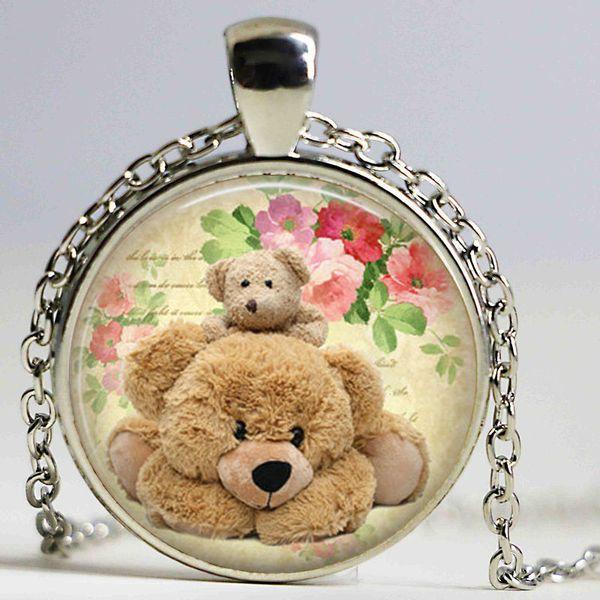Teddy bear necklace , cute teddy pendantart pendant , gift for friend family , cuddly teddy necklace
