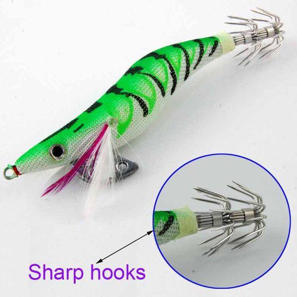 10 pcs leurre de pêche seiche appâts artificiels crevettes bois avec Squid crochet taille 2.5 3.0 3.5