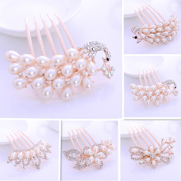 Bridal Wedding Hair Combs Crystal Pearl Peacock Crown Hair Combs Hairclip Women Bridesmaid Party Jewelry Accessories