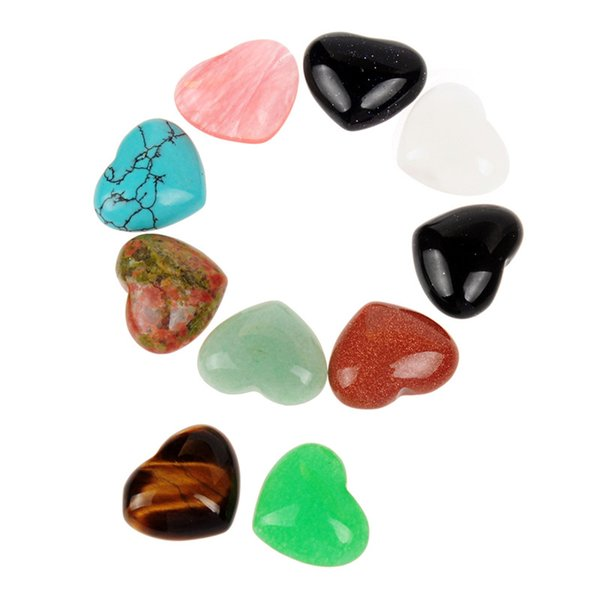 Mixed Unakite Tiger Eye Palm Stone Polished Smooth Healing Natural Semi Precious Stone Heart Cabochon CAB Jewelry Wholesale Free Shipping