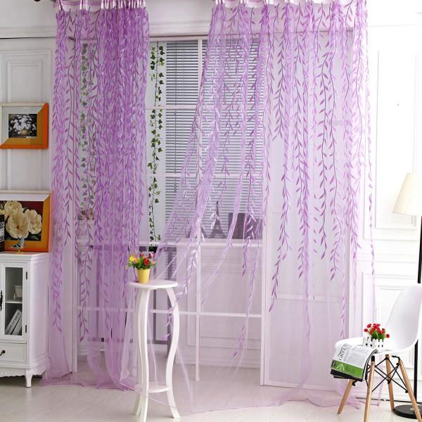 top popular Curtain Room Willow Pattern Window Sheer Panel Scarfs Curtains 2020