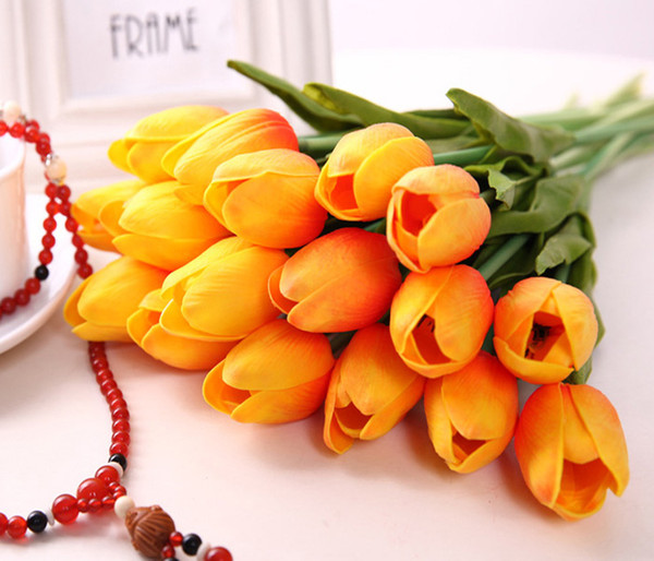 top popular 50PCS Latex Tulips Artificial PU Flower bouquet Real touch flowers For Home decoration Wedding Decorative Flowers 11 Colors Option 2021
