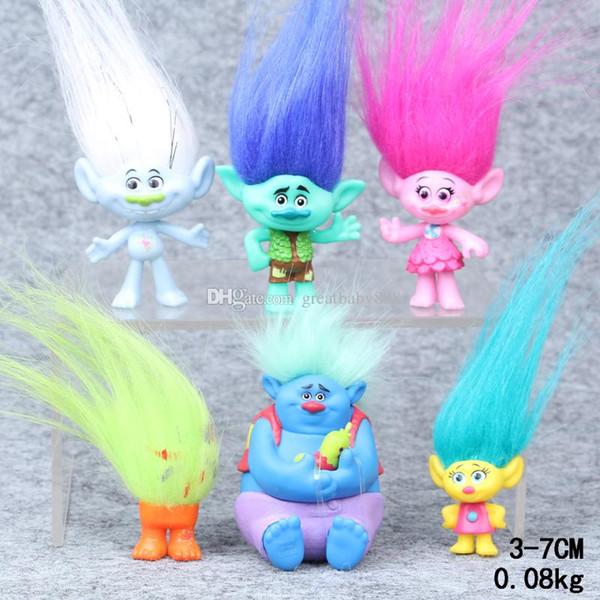 Venta al por menor 6 unids / set Trolls Figuras de Acción de PVC Juguetes 3-7 cm Poppy Branch Biggie Colección Muñecas para Niños Figuras Modelo Juguetes PVC A144