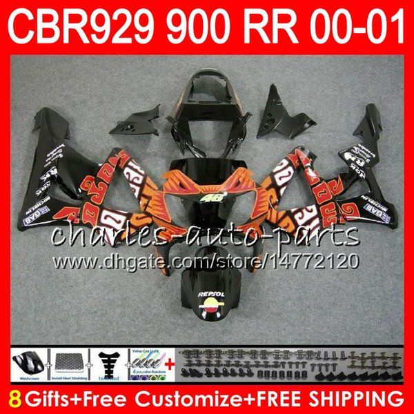Body For HONDA CBR 929RR CBR900RR CBR929RR 00 01 CBR 900RR 67NO7 TOP Repsol red CBR929 RR CBR900 RR CBR 929 RR 2000 2001 Fairing kit 8Gifts