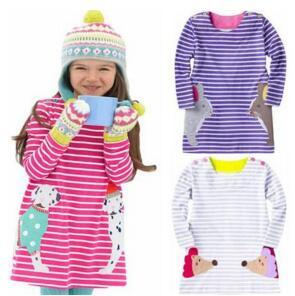Stripe Printed Dress Girl Long Sleeve Dresses Kid Spring Autumn Dot Rabbit Dog Mice Deer Animal Pattern Lovely Dress Children Clothing H245