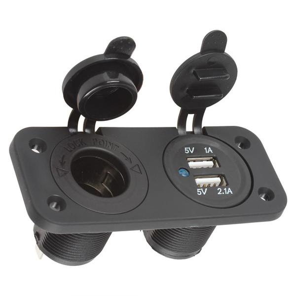 12V Car Cigarette Lighter Plug Adapter Socket Splitter Waterproof Motorcycle Boat Dual USB Power Charger Outlet for Smart Phone CEC_685
