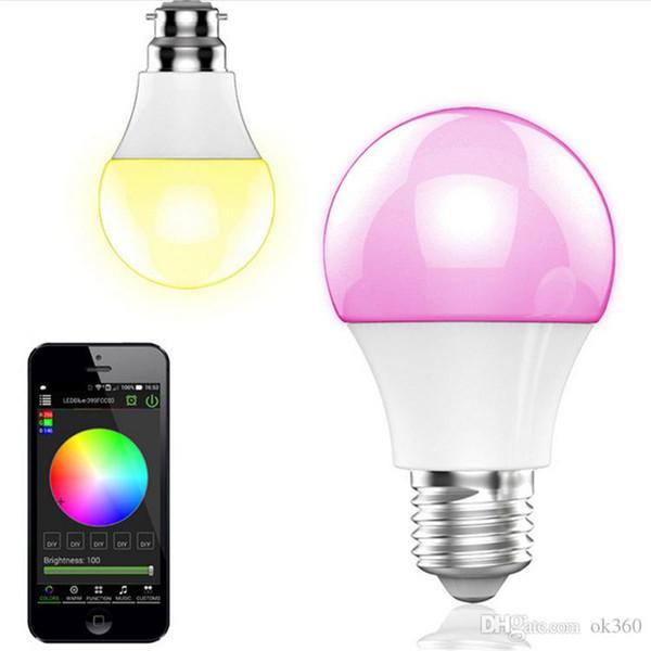 Novo bluetooth lâmpada led 4.5 w e27 rgbw bluetooth 4.0 sem fio inteligente mudança de cor da luz do diodo emissor de luz dimmable lâmpadas ios / android app