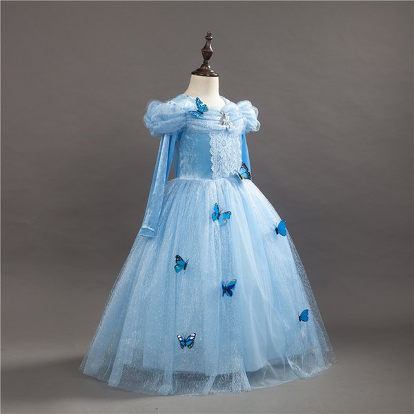 Girls Cinderella Princess Dresses New Cosplay Lace Party Wedding Long-Sleeve Dress Children Baby Halloween Christmas Clothing PX-A04
