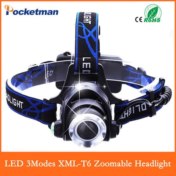 Wholesale-USA EU Hot HP79 Head light Head lamp Cree XM-L T6 led 3000LM rechargeable Headlamps Headlights lamp lights