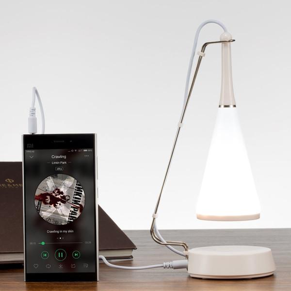 Toque portátil da lâmpada do bluetooth Speaker music LED lâmpada de mesa mesa de sensor de toque luz da noite regulável carregada de entrada de áudio MP3 Player