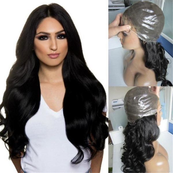 New Product Jet Black Color 1 Virgin Brazilian Wavy Hair Full Thin Skin Wig Free Shipping