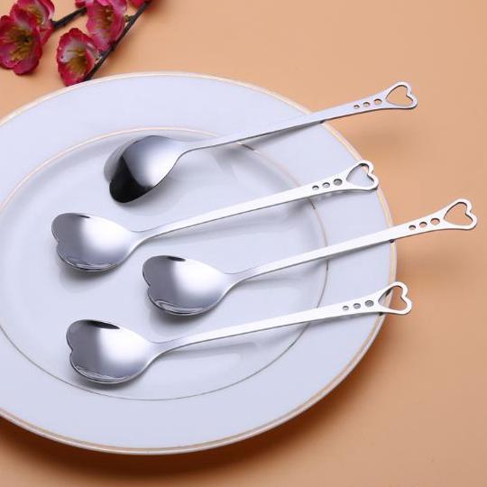 best selling Flatware Lovers Heart Shaped Love coffee tea measuring Spoon Wedding lover Favors stainless steel dinner tableware 2 in1 coffee Spoon h51