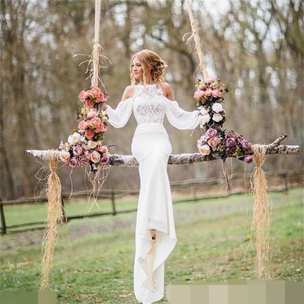 best selling Hot Sale Sheath Wedding Dress 2019 Summer New Casual Garden Sweep Train Modern Chiffon Applique Long Bridal Gown Custom Made Full Sleeve Top