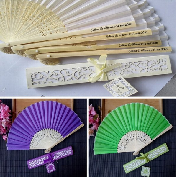 best selling Free shipping 120pcs lot personalized printing text on wedding silk hand fans with Laser-Cut Gift Box Party Favors Wedding Gifts