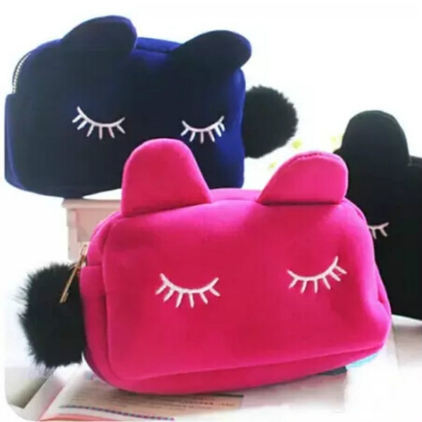Cute Portable Cartoon Cat Storage Case Travel Makeup Flannel Pouch Cosmetic Bag Korean and Japan Style