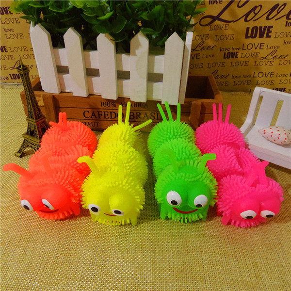 Cartoon luminous mini rubber flash to vent the caterpillar maomao ball light-emitting toys for children Nappy toys