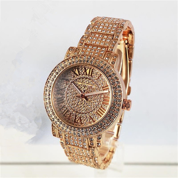 top popular New Famous Luxury Crystal Dial Bracelet Quartz Wrist Watch Christmas Gift for Ladies Women Gold Rose Gold Silver Wholesale Free Shipping 2019