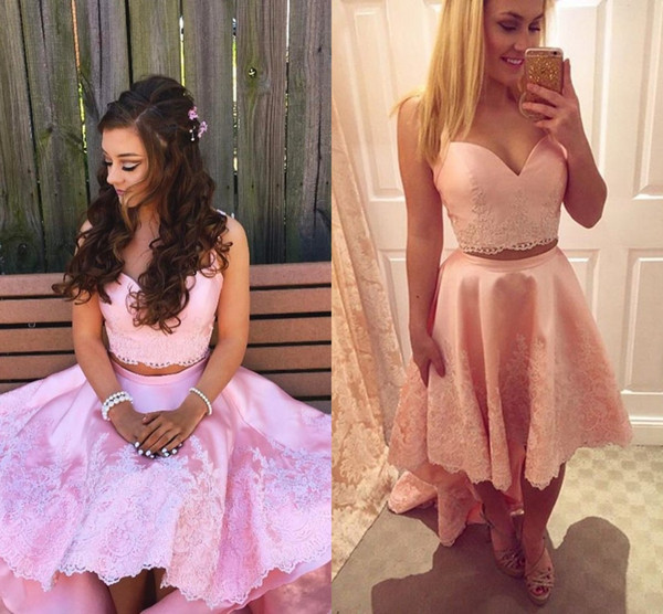 Blush Pink Two Piece Prom Dresses Sweetheart Appliques Lace Satin Backless High Low Party Dresses Homecoming Dresses