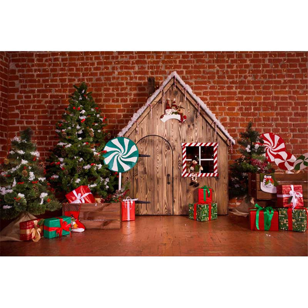 Interior Brick Wall Wood House Christmas Tree Backdrop Photography Green Red Lollipops Gift Boxes Children Kids New Year Photo Background