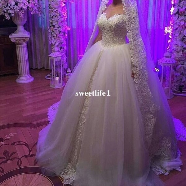 Real Image 2019 Sweetheart Wedding Dresses Lace Appliques Ball Gown Floor Length Lace Up Church Bridal Gown Custom Made