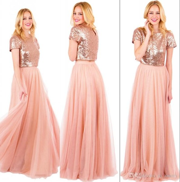 Sparkly Rose Gold Sequined Long Bridesmaids Dresses Plus Size A Line Two  Pieces Blush Pink Chiffon Cheap Simple Girls Maid Of Honors 1950s  Bridesmaid ...