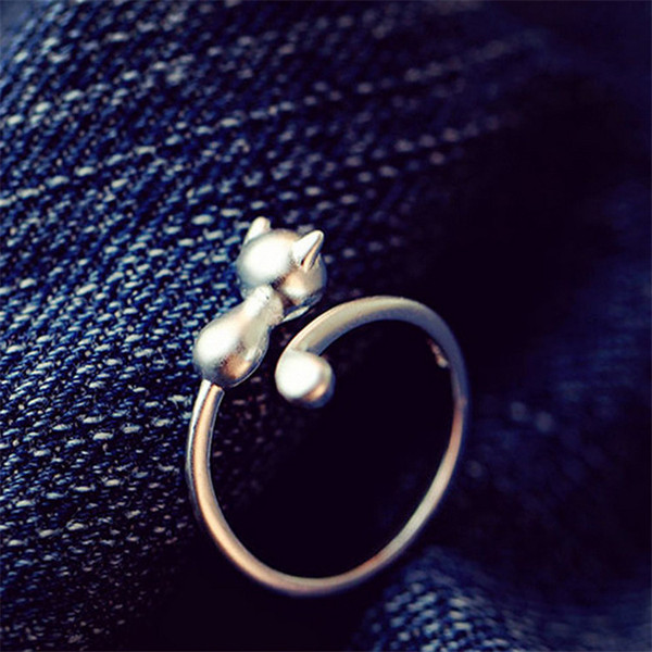 2017 Free Shipping 925 Sterling Silver Cat Adjustable Rings For Women Jewelry Beautiful Finger Open Rings For Party Birthday Wedding Gift