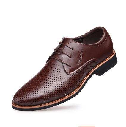 New style groom dress shoes men cool leather Hollow out Breathability hole hole shoes weaving cool men's leather shoes AXX119