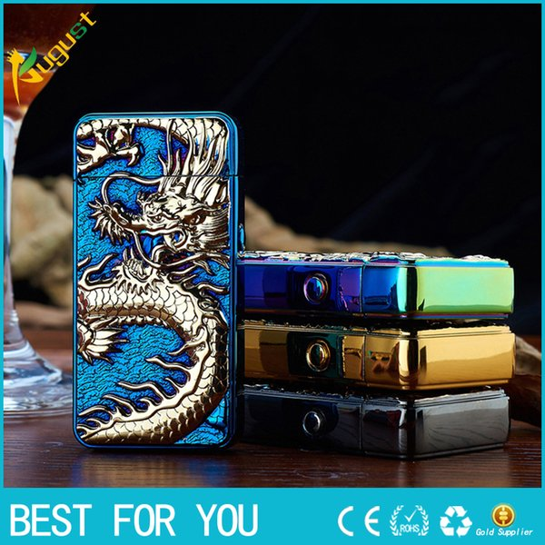 HB double arc USB rechargeable lighter personality Ultra-thin Relief Chinese Dragon Arc electronic cigarette lighter