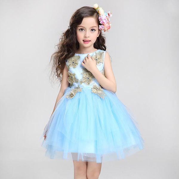 Free Shipping A-line Short / Mini Stain/Tulle Sleeveless Boat Neck Cheap Blue Flower Bridal Girl Dresses for Weddings BLB/A057
