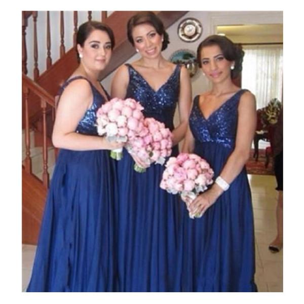 Deep V Neck Blue A Line Bridesmaid Dress 2019 Chiffon Open Back Long Formal Party Gowns Vintage New Lace Evening Fashion Best Sale
