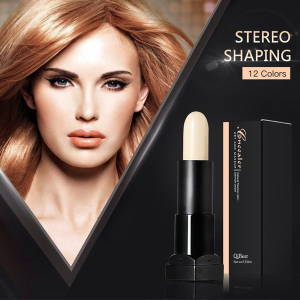 Qibest 3D Cover Stick Concealer Natural Flawless Blemsh Cream Shaping Makeup Sticks 12 Colors Bright and Dark