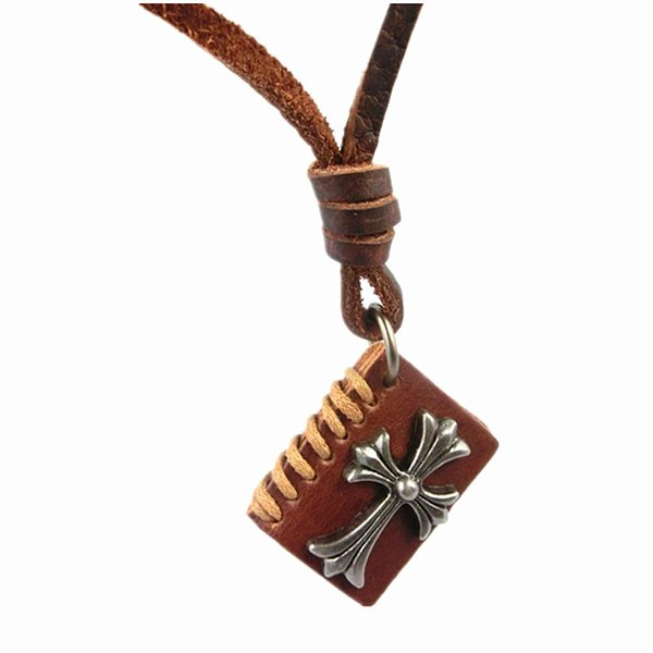 Vintage Book Shape Genuine Leather Jesus Cross Pendant Necklace Men Women Classic Chunky Statement Sweater Choker Colar Bijoux Jewelrys