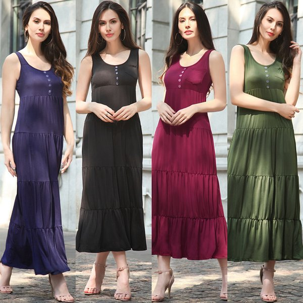 Casual Sleeveless Vintage Long Dress Scoop Neck Single-breasted Pocket Decoration Pleated Patchwork Large Swing Dresses