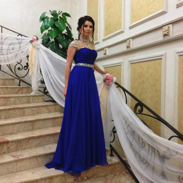 Großhandel Royal Blue Abendkleider Diamanten Sheer High Neck Cap ...