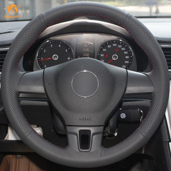 Mewant Black Artificial Leather Car Steering Wheel Cover for Volkswagen VW Tiguan Lavida Passat B7 Jetta Mk6