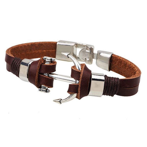 Personality Brown Genuine Cow Leather Wrap Bracelet Charm Men Jewelry Crew Nautical Anchor Navy Ocean Marine Ancla Bracelet Male Accessories
