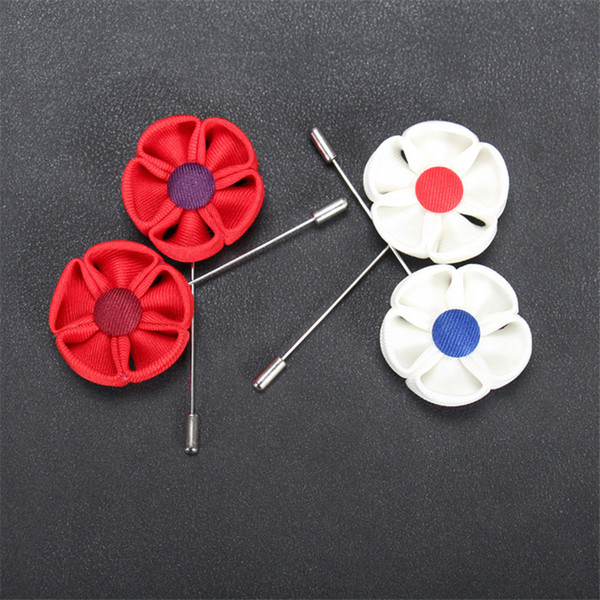 BoYuTe 10Pcs New Arrive Fabric Sunflower Lapel Pin Suit Accessories Men Wedding Boutonniere Brooch Pins Christmas Decorations