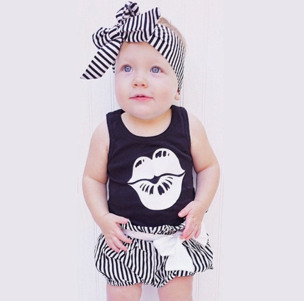 Newborn Baby Girl Romper headband set Summer Sleeveless letters lips T-shirt+strip short Infant Baby Clothes Toddler Jumpsuit Kids outfits