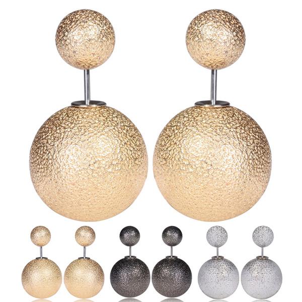 Moda dupla face rugas bolas brincos grande luxo imitação de pérolas brincos nova marca de jóias para as mulheres meninas de Prata / ouro / preto