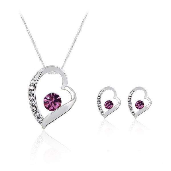 Jewelry Set Wedding Earrings Swarovski Silver Crystal Jewelry Long Necklace Gift Set Indian African Jewellery Party Jewelry Sets