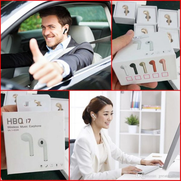 HBQ I7 Mini Wireless Bluetooth Earbud Single Wireless Invisible Headphones Headset With Mic Stereo bluetooth Earphone For Iphone Android