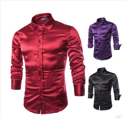Wholesale- 2017 New Men Dress Shirts Male Artificial Silk Casual Luxury Dress Stylish Shirt Man's Fashion Purple Black Wine Red Clothes