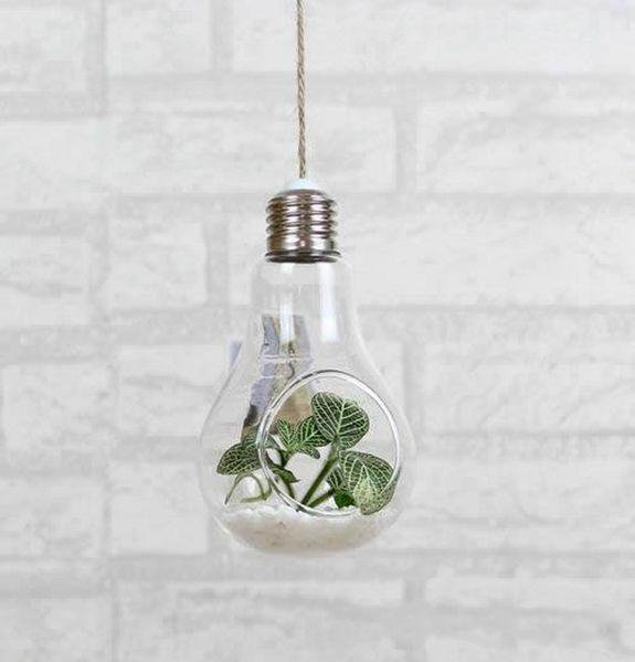 Clear hanging bulb vases Succulent air plant bulb terrarium light bulb shape glass planter for Christmas Ornaments wedding home decor