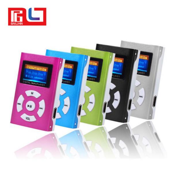 USB Mini música Pantalla LCD compatible 32GB Micro memoria Digital MP3 con auricular, cable USB, caja de venta al por menor,