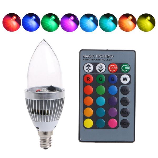 E27 E14 E12 Bombillas LED RGB 3W 16 Cambio de color Luz de vela AC85-265V Control remoto Vela Bombilla